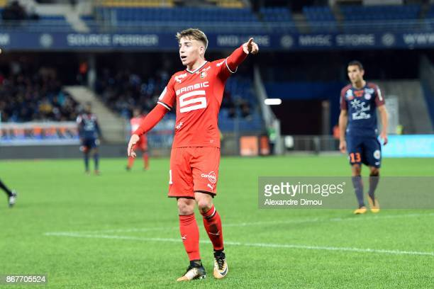 Thomas Brandon of Rennes during the Ligue 1 match between Montpellier Herault SC and Stade Rennais at Stade de la Mosson on October 28 2017 in...