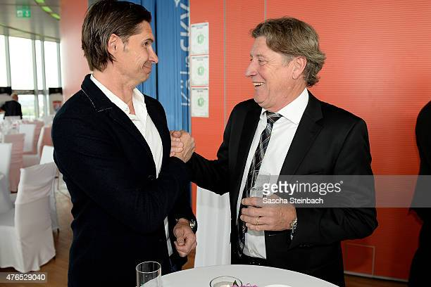Thomas Brdaric and Toni Schumacher attend the official reception for the United States Soccer Federation at KoelnSky Lounge on June 10 2015 in...