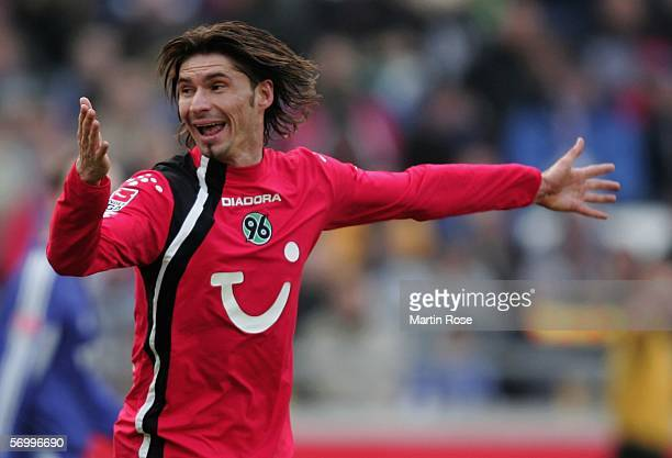 Thomas Brdaric of Hannover gestures during the Bundesliga match between Hanover 96 and FC Schalke 04 at the AWD Arena on March 4 2006 in Hanover...