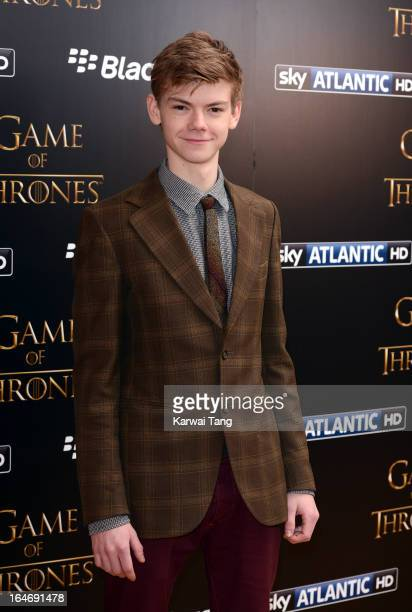 Thomas Brodie Sangster attends the season launch of 'Game of Thrones' at One Marylebone on March 26, 2013 in London, England.