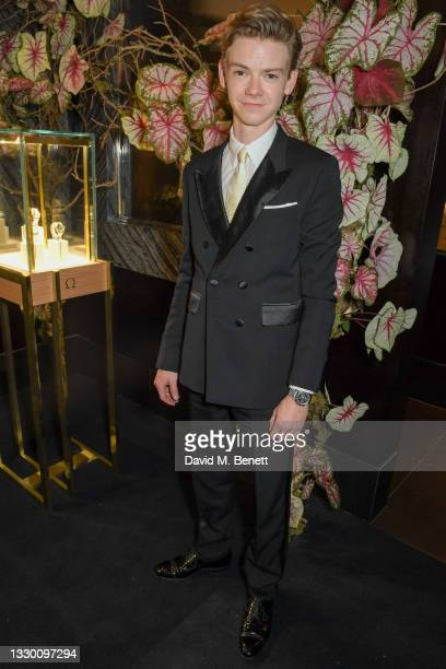 Thomas Brodie-Sangster attends a traditional Omakase dining experience hosted by Omega to celebrate the opening of the Olympic Games at Nobu Hotel on...