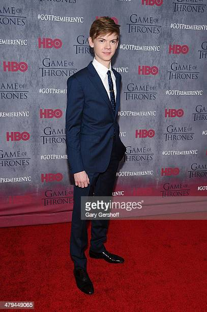 """Thomas Brodie-Sangster attends the """"Game Of Thrones"""" Season 4 premiere at Avery Fisher Hall, Lincoln Center on March 18, 2014 in New York City."""