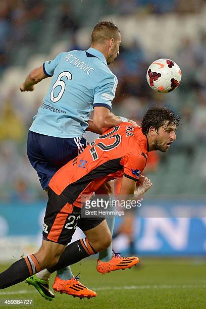 Thomas Broich of the Roar and Nikola Petkovic of Sydney contest the ball during the round 12 ALeague match between Sydney FC and Brisbane Roar at...