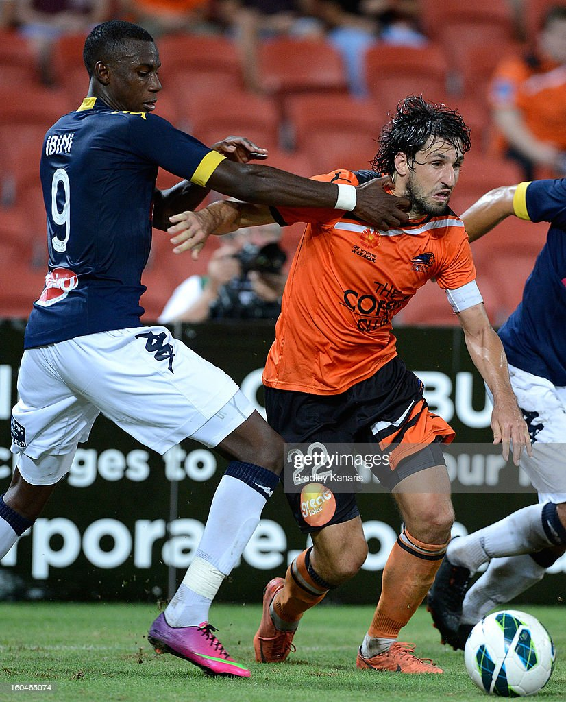 Thomas Broich of the Roar breaks free from the defence during the round 19 A-League match between the Brisbane Roar and the Central Coast Mariners at Suncorp Stadium on February 1, 2013 in Brisbane, Australia.