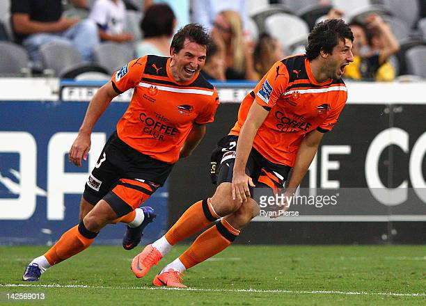 Thomas Broich of the Roar celebrates after scoring his teams first goal during the ALeague Semi Final 2nd Leg match between the Central Coast...