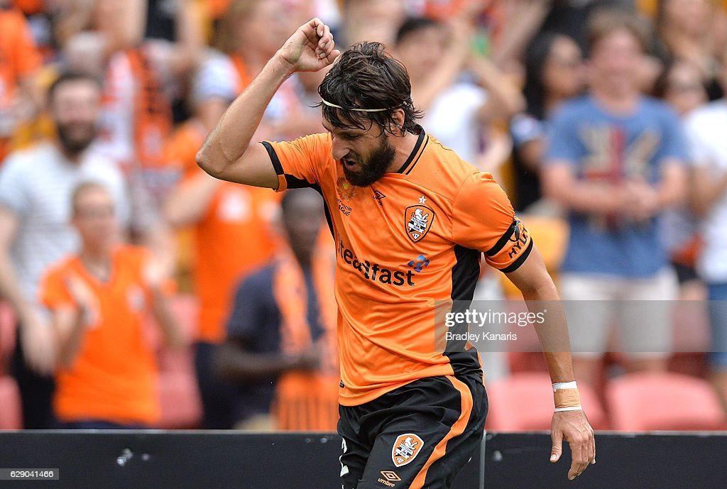 Thomas Broich of the Roar celebrates scoring a goal during the round 10 A-League match between the Brisbane Roar and Adelaide United at Suncorp Stadium on December 11, 2016 in Brisbane, Australia.