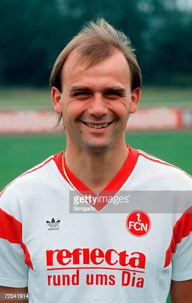Thomas Brunner of Nuremberg poses during the photo call and team presentation of 1 FC Nuremberg on July 01 1989 in Nuremberg Germany