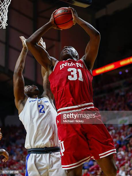 Thomas Bryant of the Indiana Hoosiers shoots the ball against DeAngelo Stewart of the Fort Wayne Mastodons at Memorial Coliseum on November 22 2016...