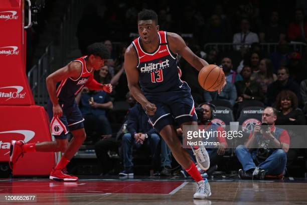 Thomas Bryant of the Washington Wizards dribbles the ball up court on March 10 2020 at Capital One Arena in Washington DC NOTE TO USER User expressly...