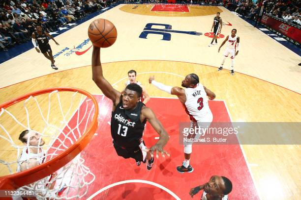 Thomas Bryant of the Washington Wizards dunks the ball against the Miami Heat on March 23 2019 at Capital One Arena in Washington DC NOTE TO USER...