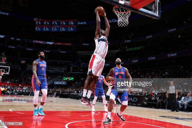 Thomas Bryant of the Washington Wizards dunks the ball against the Detroit Pistons on November 4 2019 at Capital One Arena in Washington DC NOTE TO...
