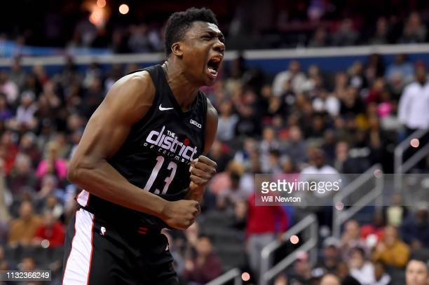 Thomas Bryant of the Washington Wizards reacts after a play against the Miami Heat during the second half at Capital One Arena on March 23 2019 in...