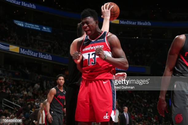 Thomas Bryant of the Washington Wizards reacts against the Portland Trail Blazers on November 18 2018 at Capital One Arena in Washington DC NOTE TO...