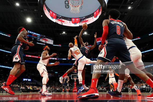 Thomas Bryant of the Washington Wizards shoots on Taj Gibson of the New York Knicks at Capital One Arena on March 10 2020 in Washington DC NOTE TO...