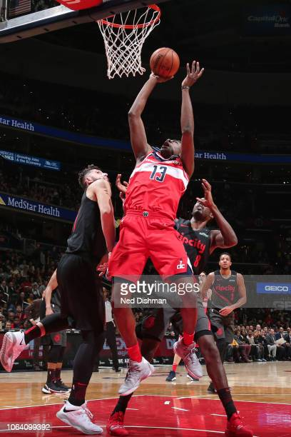 Thomas Bryant of the Washington Wizards shoots the ball against the Portland Trail Blazers on November 18 2018 at Capital One Arena in Washington DC...
