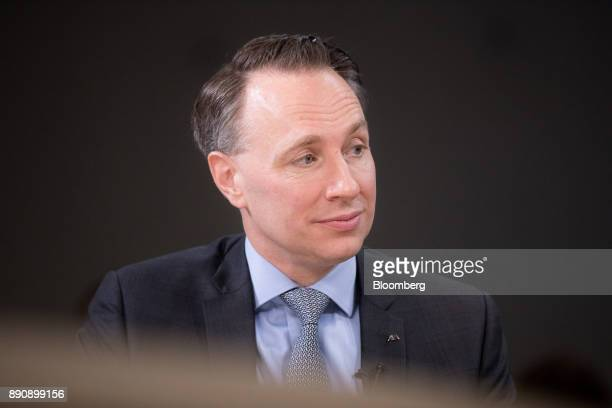 Thomas Buberl chief executive officer of AXA SA pauses during a Bloomberg Television interview at the One Planet Summit in Paris France on Tuesday...