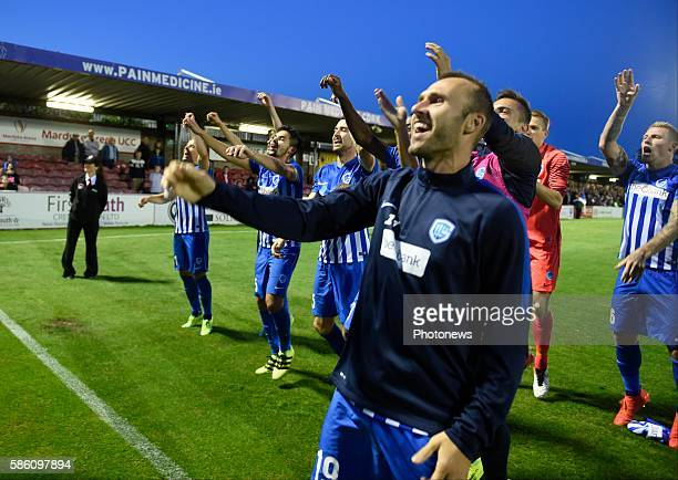 Thomas Buffel forward of Krc Genk celebrates with teammates afterwinning the game pictured during UEFA Europa League third qualifying round 2nd Leg...