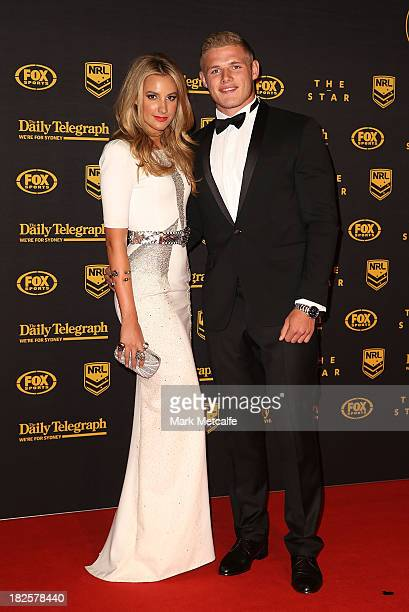 Thomas Burgess and Laura Dundovic arrive ahead of the 2013 Dally M Awards at Star City on October 1 2013 in Sydney Australia