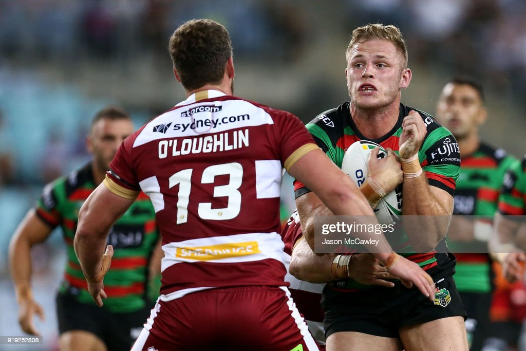 Thomas Burgess of the Rabbitohs runs with the ball during the NRL trial match between the South Sydney Rabbitohs and Wigan at ANZ Stadium on February 17, 2018 in Sydney, Australia.