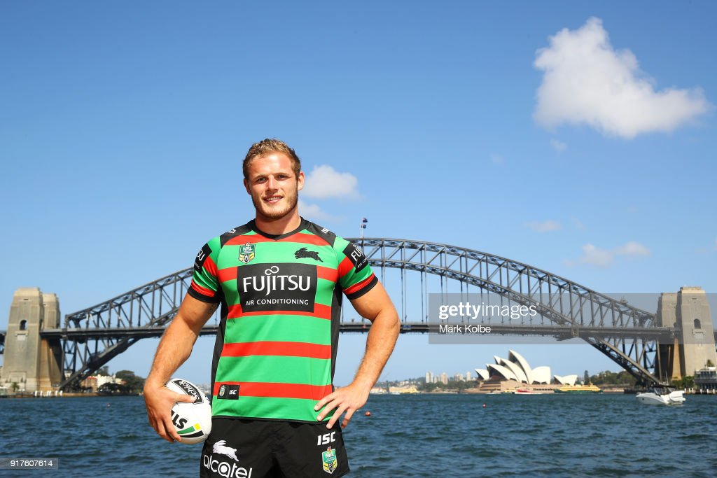Thomas Burgess of the South Sydney Rabbitohs poses during a rugby league international double header media opportunity at Blues Point Reserve on February 13, 2018 in Sydney, Australia.