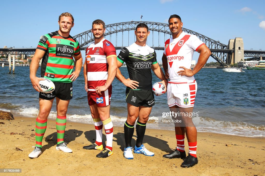 Thomas Burgess of the South Sydney Rabbitohs, Sean O'Loughlin of the Wigan Warriors, Mark Minichiello of Hull FC andÊ Nene McDonald of the St George Illawarra Dragons pose during a rugby league international double header media opportunity at Blues Point Reserve on February 13, 2018 in Sydney, Australia.