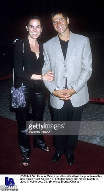 Thomas Calabro and his wife attend the premiere of his new movie 'Best Actress' E Entertainment's first movie March 16 2000 in Hollywood Ca