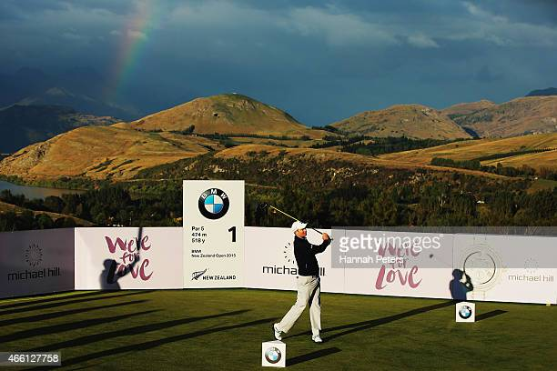 Thomas Campell of New Zealand tees off during day two of the New Zealand Open at The Hills Golf Club on March 13 2015 in Queenstown New Zealand