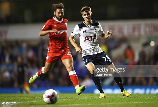 Thomas Carroll of Tottenham Hotspur in action during the EFL Cup Third Round match between Tottenham Hotspur and Gillingham at White Hart Lane on...