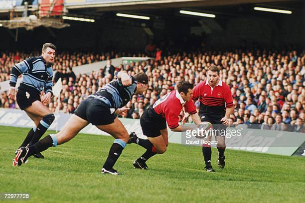 Thomas Castaignede of Toulouse goes over to score a try against Cardiff during a Heineken European Cup match at Cardiff 7th January 1996 Toulouse won...