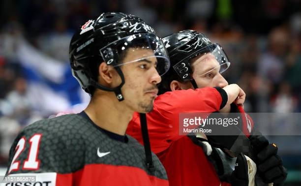 Thomas Chabot of Canada looks dejected after the 2019 IIHF Ice Hockey World Championship Slovakia final game between Canada and Finland at Ondrej...