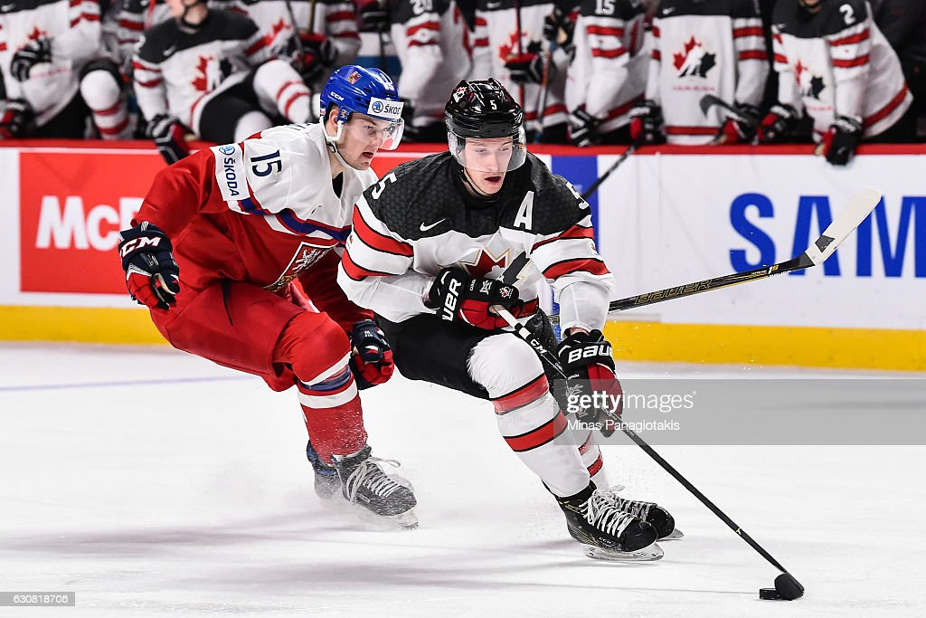 Thomas Chabot #5 of Team Canada skates the puck against Tomas Soustal #15 of Team Czech Republic during the 2017 IIHF World Junior Championship quarterfinal game at the Bell Centre on January 2, 2017 in Montreal, Quebec, Canada. Team Canada defeated Team Czech Republic 5-3.