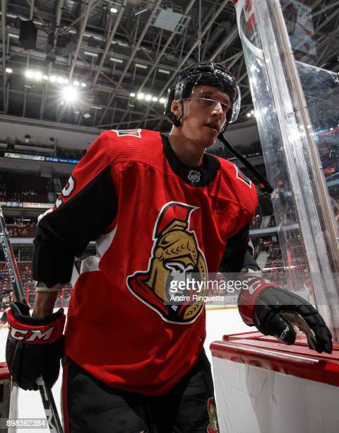 Thomas Chabot of the Ottawa Senators leaves the ice after warmup prior to a game against the Minnesota Wild at Canadian Tire Centre on December 19...