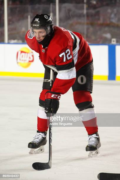 Thomas Chabot of the Ottawa Senators looks on during a stoppage in play against the Montreal Canadiens during the first period of the 2017 Scotiabank...