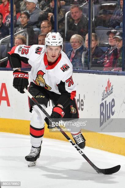 Thomas Chabot of the Ottawa Senators skates against the Columbus Blue Jackets on November 24 2017 at Nationwide Arena in Columbus Ohio