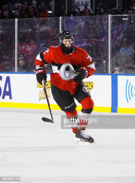Thomas Chabot of the Ottawa Senators skates against the Montreal Canadiens in the 2017 Scotiabank NHL100 Classic at Lansdowne Park on December 16...