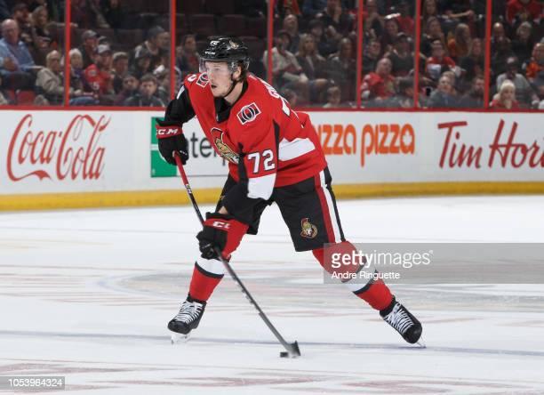 Thomas Chabot of the Ottawa Senators skates against the Philadelphia Flyers at Canadian Tire Centre on October 10 2018 in Ottawa Ontario Canada