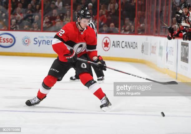 Thomas Chabot of the Ottawa Senators skates against the Tampa Bay Lightning at Canadian Tire Centre on January 6 2018 in Ottawa Ontario Canada