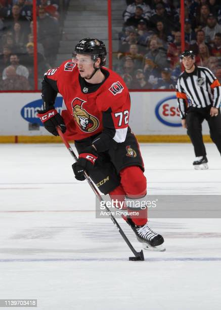 Thomas Chabot of the Ottawa Senators skates against the Toronto Maple Leafs at Canadian Tire Centre on March 30 2019 in Ottawa Ontario Canada