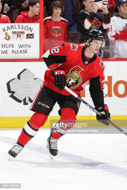 Thomas Chabot of the Ottawa Senators skates during warmups prior to a game against the Chicago Blackhawks at Canadian Tire Centre on January 9 2018...