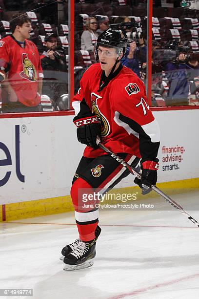 Thomas Chabot of the Ottawa Senators skates during warmups prior to their game against the Toronto Maple Leafs at Canadian Tire Centre on October 12...