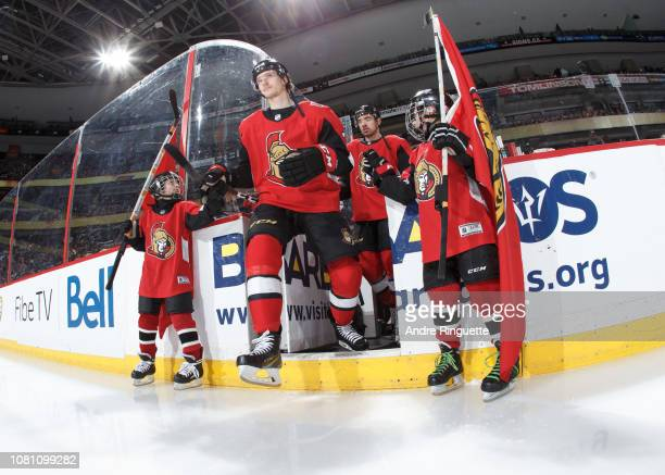 Thomas Chabot of the Ottawa Senators steps onto the ice during player introductions prior to a game against Boston Bruins at Canadian Tire Centre on...