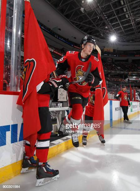 Thomas Chabot of the Ottawa Senators steps onto the ice during player introductions prior to a game against the Columbus Blue Jackets at Canadian...
