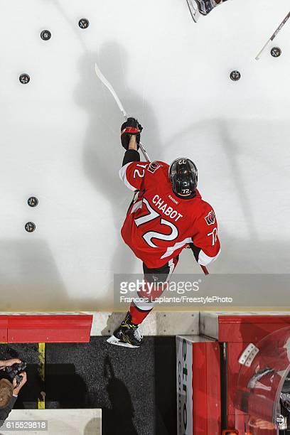 Thomas Chabot of the Ottawa Senators steps onto the ice for warmup prior to his first career NHL game in a game against the Arizona Coyotes at...