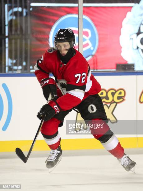 Thomas Chabot of the Ottawa Senators stickhandles the puck against the Montreal Canadiens during the 2017 Scotiabank NHL100 Classic at Lansdowne Park...