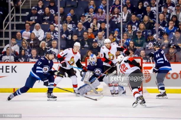 Thomas Chabot of the Ottawa Senators takes a shot from the point during second period action against the Winnipeg Jets at the Bell MTS Place on...