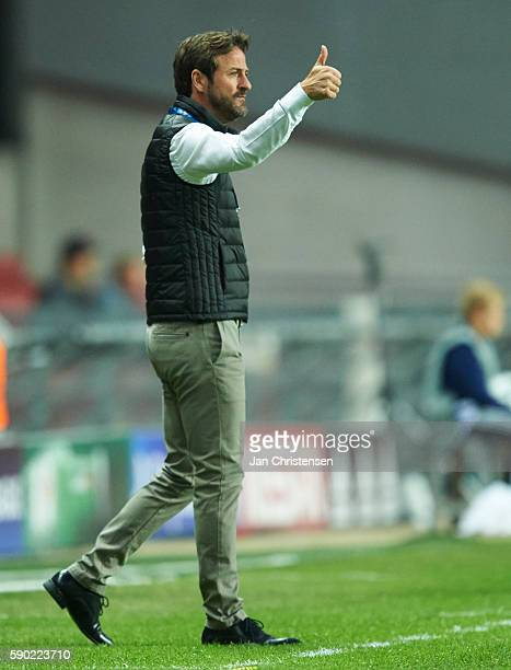 Thomas Christiansen head coach of Apoel FC gives instructions during the UEFA Champions League Playoff match between FC Copenhagen and Apoel FC at...