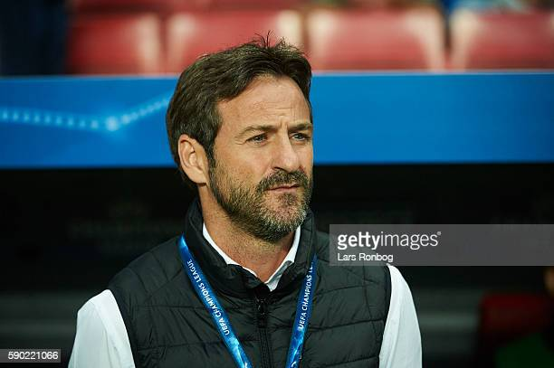 Thomas Christiansen head coach of Apoel FC looks on prior to the UEFA Champions League playoff 1st leg match between FC Copenhagen and Apoel FC at...