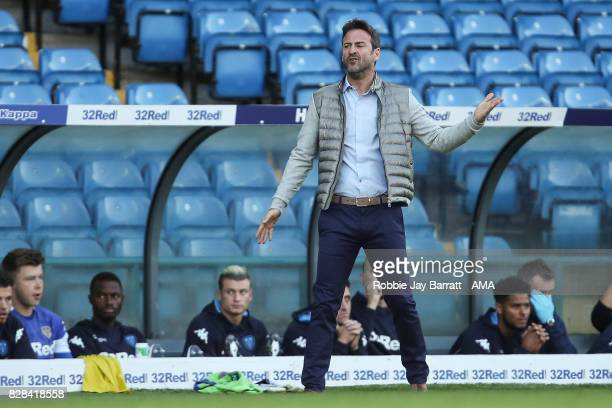 Thomas Christiansen manager / head coach of Leeds United during the Carabao Cup First Round match between Leeds United and Port Vale at Elland Road...