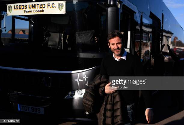 Thomas Christiansen Manager of Leeds United arrives prior to The Emirates FA Cup Third Round match between Newport County and Leeds United at Rodney...