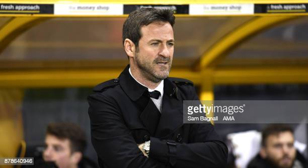Thomas Christiansen the head coach / manager of Leeds United during the Sky Bet Championship match between Wolverhampton and Leeds United at Molineux...